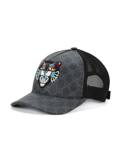 Gucci Cotton Gg Supreme Angry Cat Baseball Cap in Black