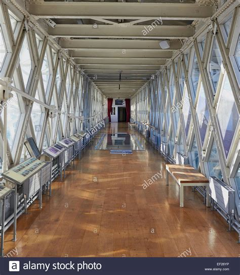 Inside Tower Bridge high level walkway with the new glass