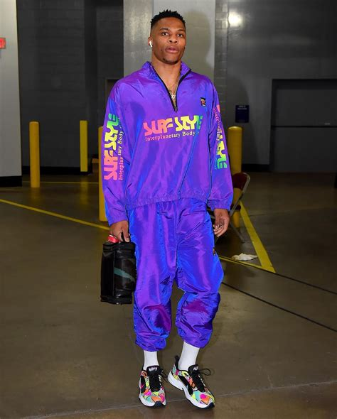 Russell Westbrook wears a Surf Style Windbreaker Suit and