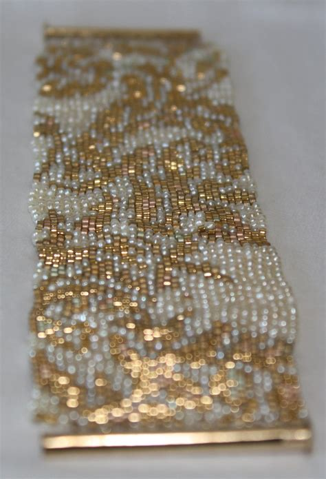 Seed Bead PATTERN ONLY for Peyote Stitch Gold and Pearl | Etsy