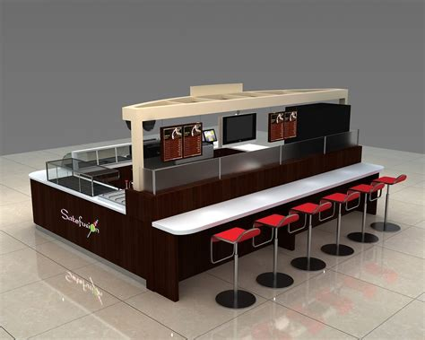 Fast food stall design for sushi shop in mall with bar counter
