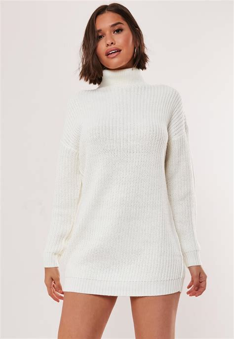White Roll Neck Knit Jumper Dress | Missguided
