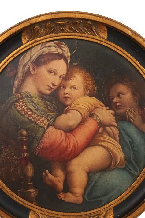 Antique Raphael Madonna of the Chair, Virgin Mary and
