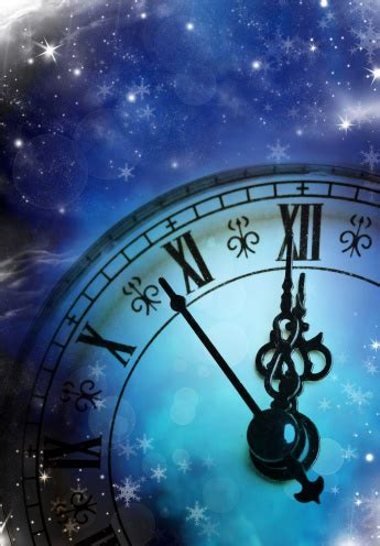New Years At Midnight Background With Clock On Starry Blue