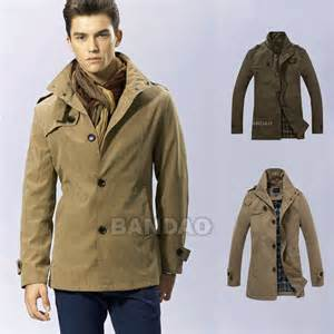 Men's Dust Coat trench wind jacket casual slim Fashion