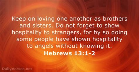 Hebrews 13:1-2 - Bible verse of the day - DailyVerses