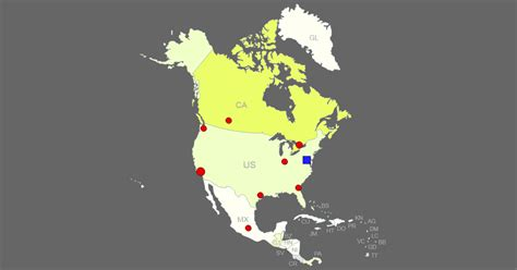 Interactive Map of North America [Clickable Countries/Cities]