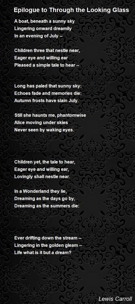 Epilogue To Through The Looking Glass Poem by Lewis