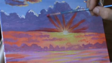 How to Paint Sunset Below Clouds 2 Sky painting class